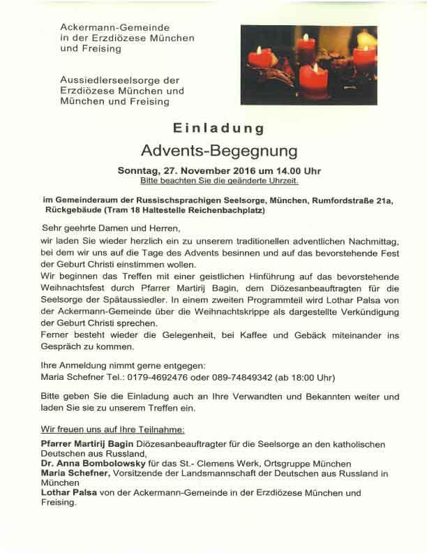 seelsorge für deutsche aus russland, Einladung